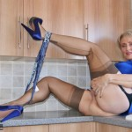 Hot wife in blue dress & stockings loves to cum